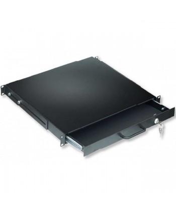 """NO BRAND - Cassetto Porta tastiera 1U per Rack 19"""" nero"""