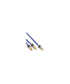 CAVO premium da 2 RCA M a JACK M 3,5mm 1mt pin dorati blu