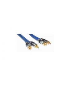 CAVO PREMIUM BLU 2 RCA M a 2 RCA M M 3mt PIN DORATI