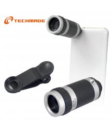TechMade - TELESCOPOI 8X OTTICO PER SMARTPHONE SILVER COLOR