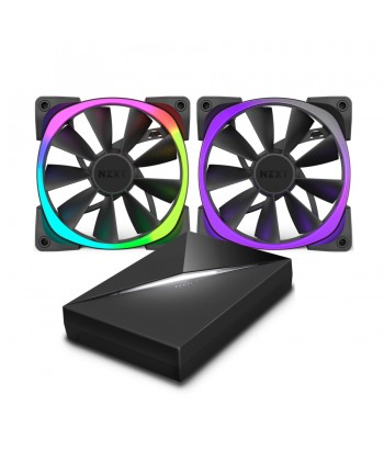 NZXT - KIT 2 Ventole RGB 140mm con controller HUE+