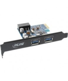 INLINE - SCHEDA USB 3.0 2 porte PCIe black ed + staffa low profile chip FL 1009