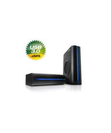 """BOX 3.5"""" SATA USB3.0+eSATA con ventola Black"""