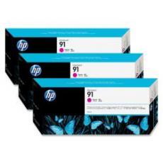 Confezione multipla da 3 inchiostri HP 91 magenta: 3 cartucce da 775 ml, da non vendersi separatamente