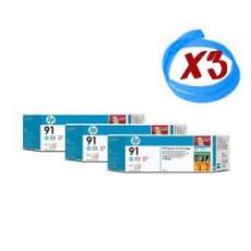 Confezione multipla da 3 inchiostri HP 91 ciano chiaro: 3 cartucce d